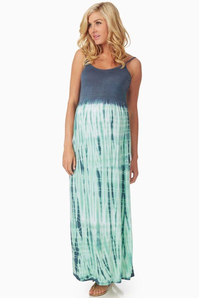 Navy-Blue-Mint-Tie-Dye-Print-Maternity-Maxi-Dress
