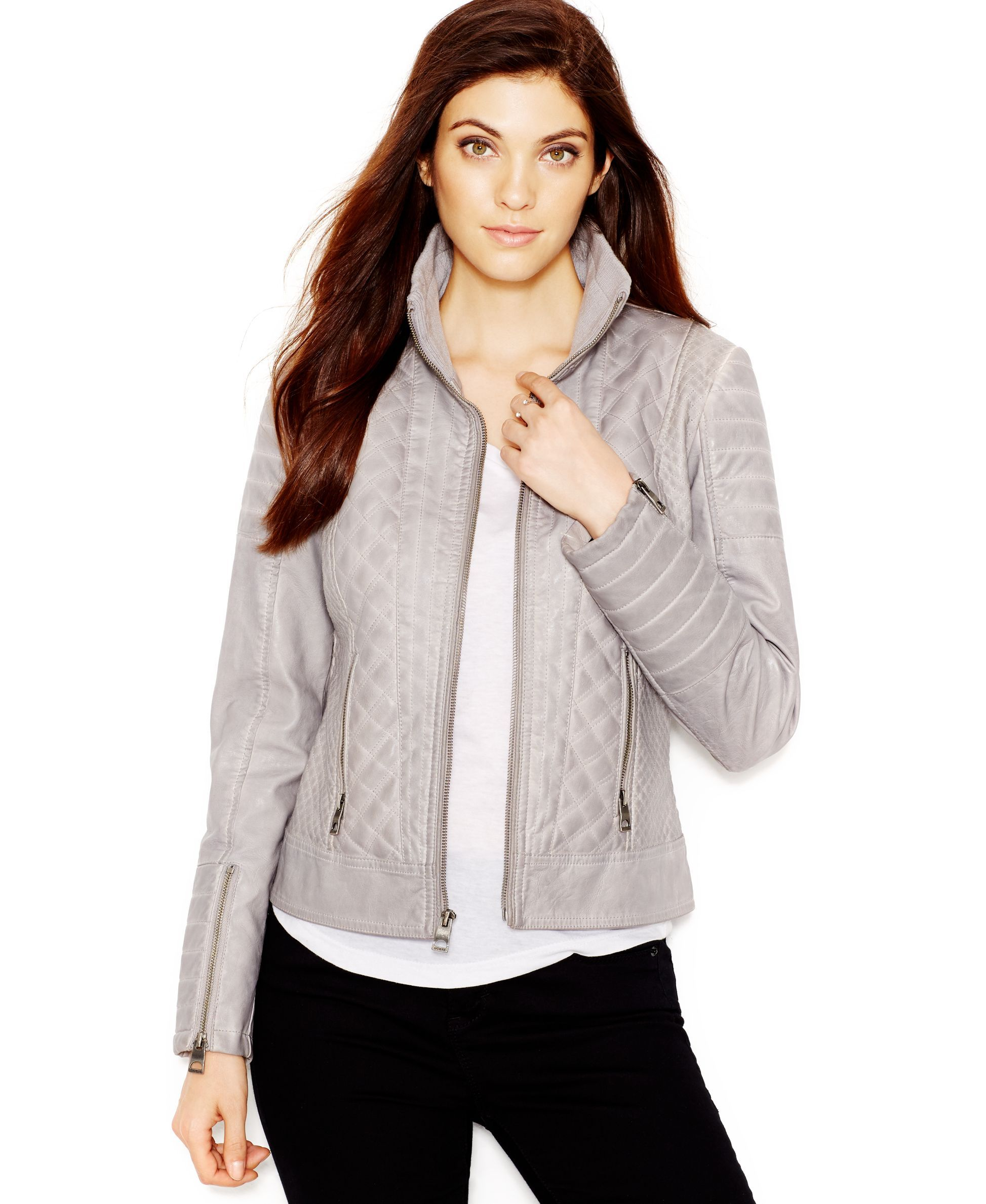 Guess Quilted Faux Leather Jacket Jackets Blazers Women Macy S Faux Leather Jackets Blazer Jackets For Women Clothes Design [ 2378 x 1947 Pixel ]
