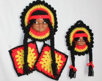 Midcentury Native American Doll Face Kitchen Decor Set With 2 Faces And 2  Pot Holders,