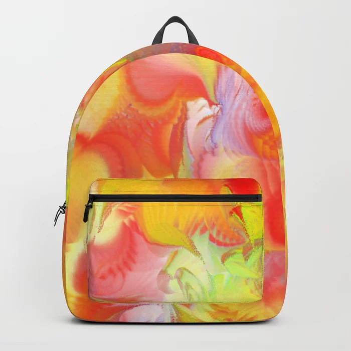 Drawstring Backpack Colorful Rose Painting Shoulder Bags
