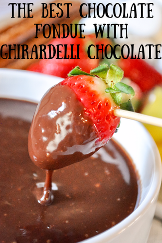The BEST Chocolate Fondue with Ghirardelli Chocolate - cloverlaneblog.com