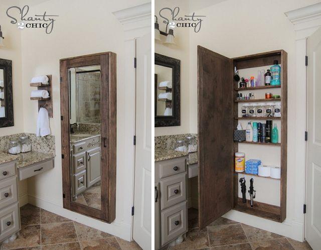 Rustic bathroom organization cabinet cheap diy upgrades for Diy mirrored kitchen cabinets