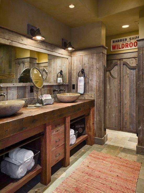 Simplerusticbathroomdesignideaswithhiddenceilinglampsand Prepossessing Rustic Small Bathroom Ideas Decorating Design