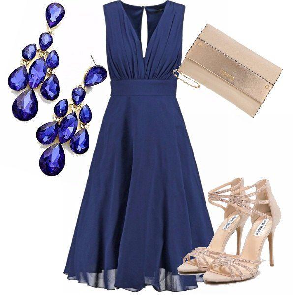 abito lungo blu elettrico accessori