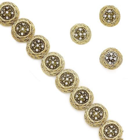 A diamond-set bracelet, ring and earring suite,  by David Thomas, (3)