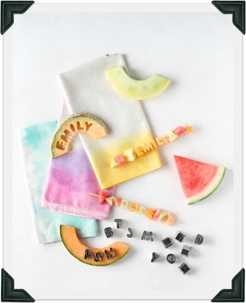 i think this is a great idea to do for an event with residents regarding healthy eats. Fruit kebabs are so easy. the addition of making letters out of the melons is great. Edible Fruit Kebab Party Place Setting by Creativelive