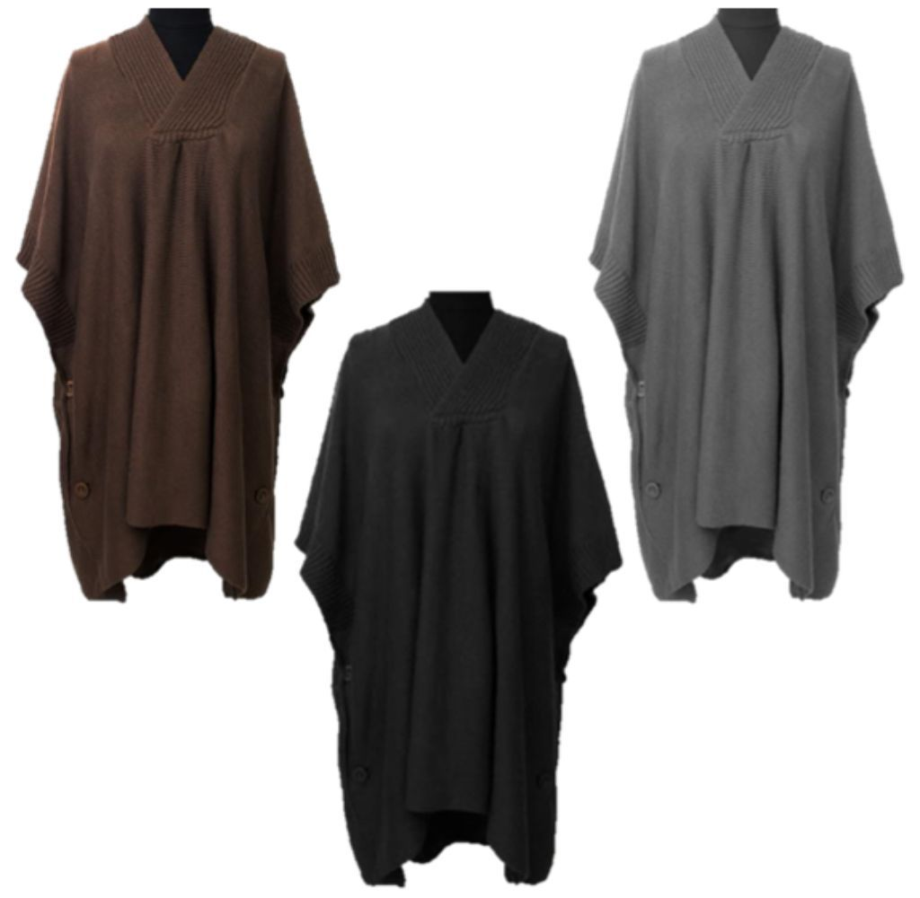Hooded Poncho With Button Detail - Set of 3