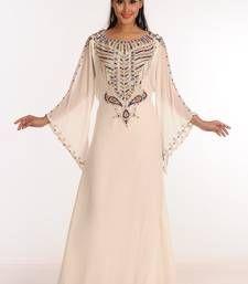 03c0fd39f2 Buy Cream Zari Work Stones   Beads Embellish GEORGETTE Islamic Style  Arabian Maxi Partywear Kaftan islamic-kaftan online