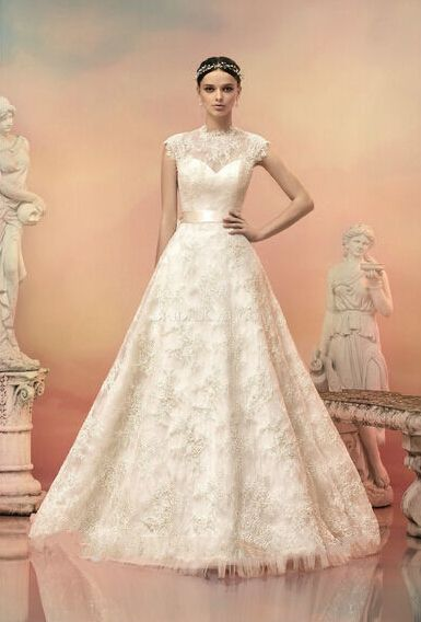 Newest High Neck Ball Gown Cream Lace Wedding Dress Easebuy! Free ...