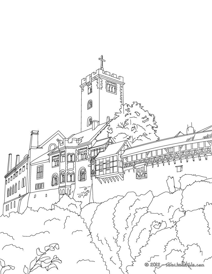 wartburg castle coloring page coloring for adults pinterest