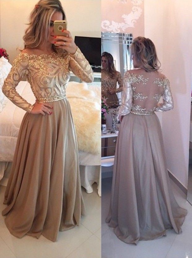 A-Line Off-the-Shoulder Long Sleeves Champagne Chiffon Prom Dress ...