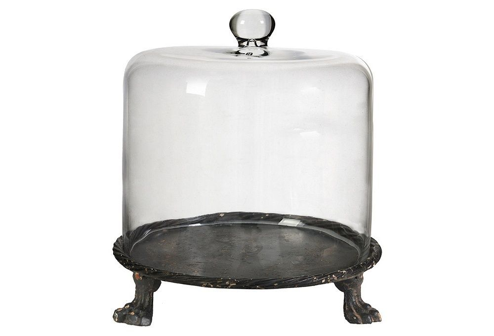 farmhouse cake stand with glass dome