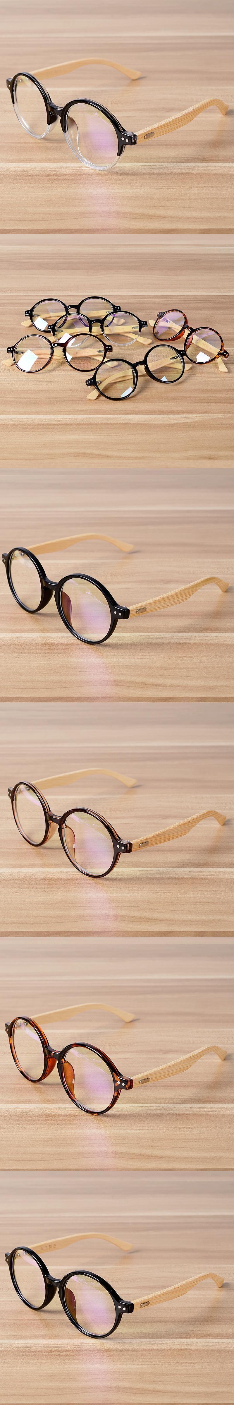b881403d091 Round Glasses Frame Clear Lens Optical Frames Vintage Eyeglasses Wooden  Bamboo Brown Leopard Eyewear Frames Spectacle