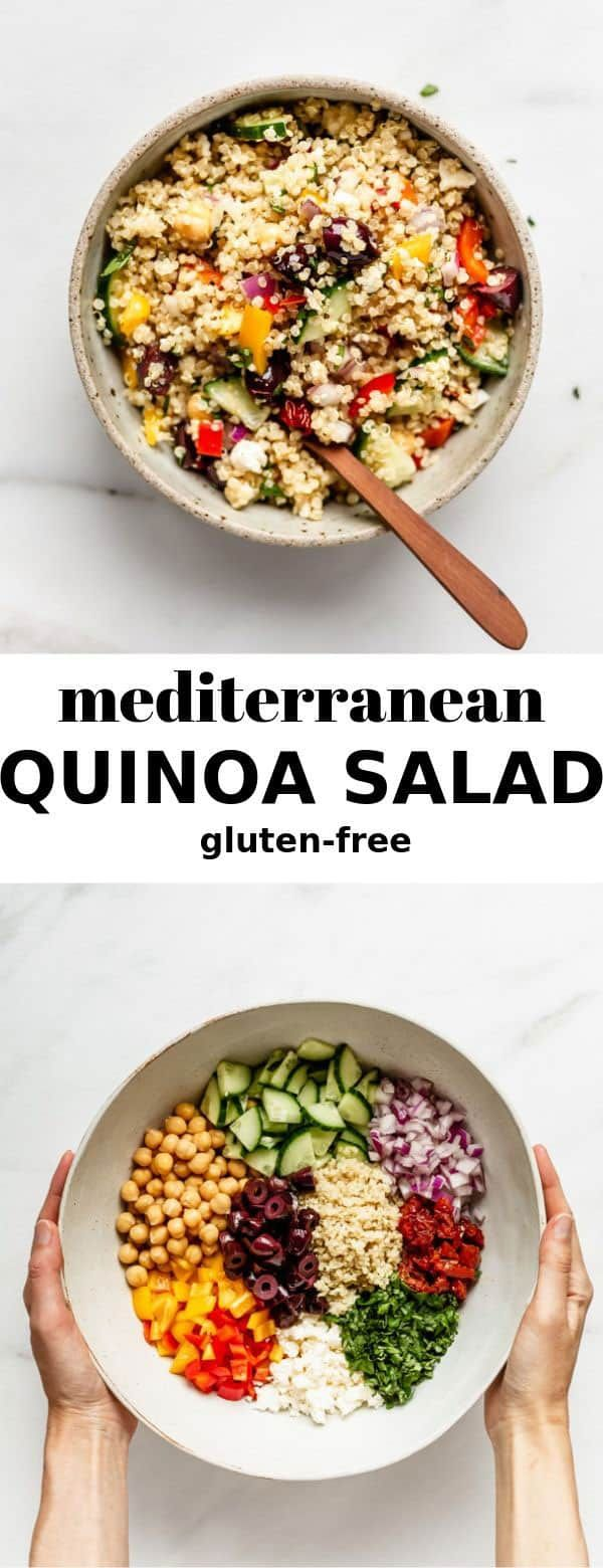 This mediterranean quinoa salad recipe is made with a light lemon dressing and is so easy to make!