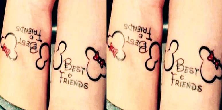 20 Disney Tattoos To Celebrate Your Magical Friendship Cute Best Friend Tattoos Friend Tattoos Tattoos For Daughters