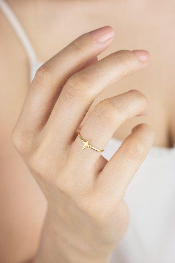 Tiny Gold Cross Ring, 14K Gold Ring, Yellow Gold,