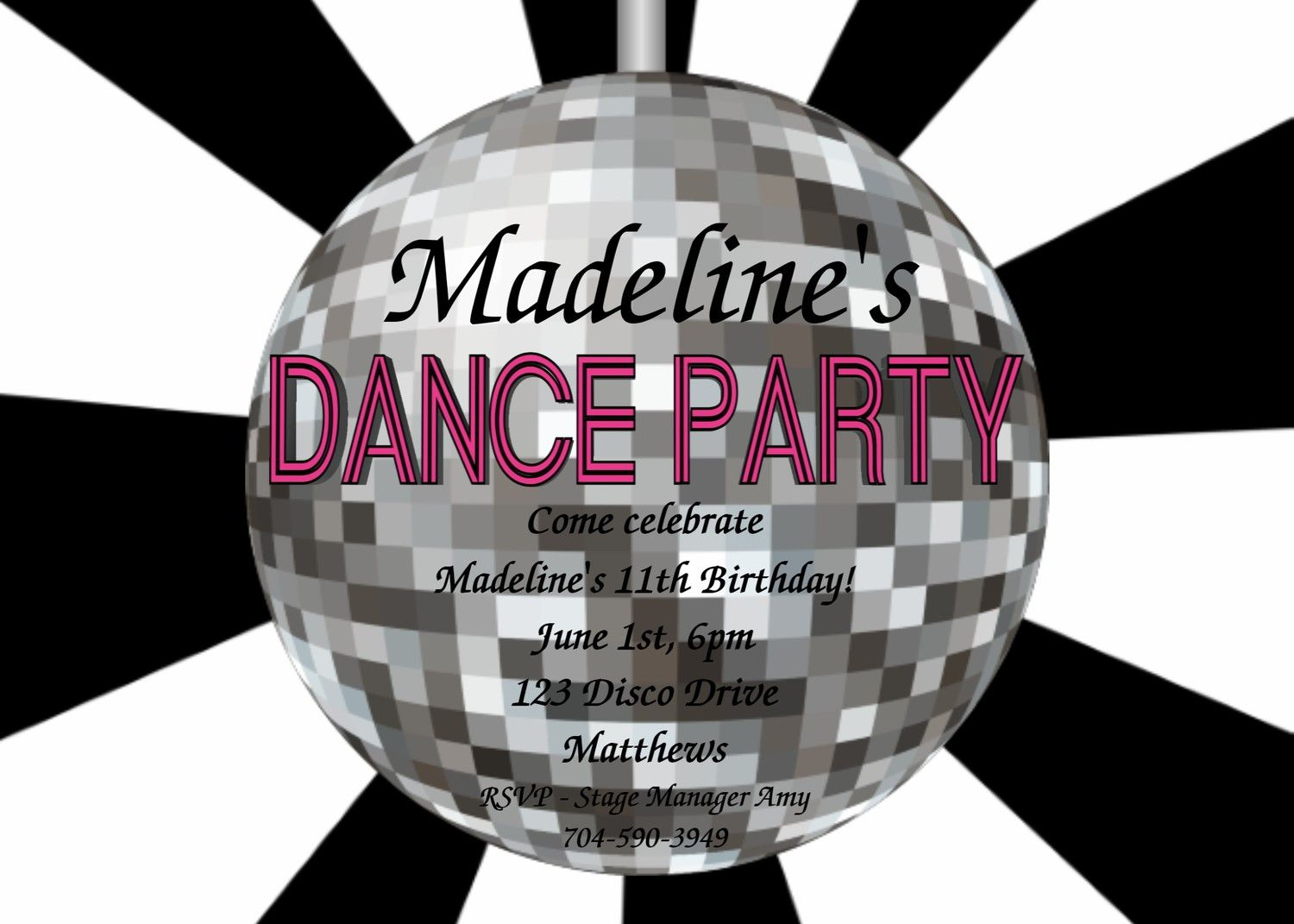 Printable Disco Party Invitations For Kids | Glitter Dance Party ...