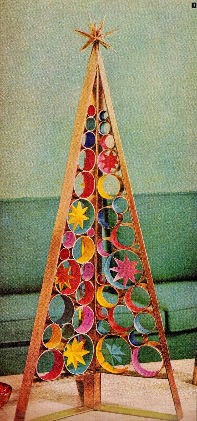 DIY mid century retro Christmas tree centerpiece. http