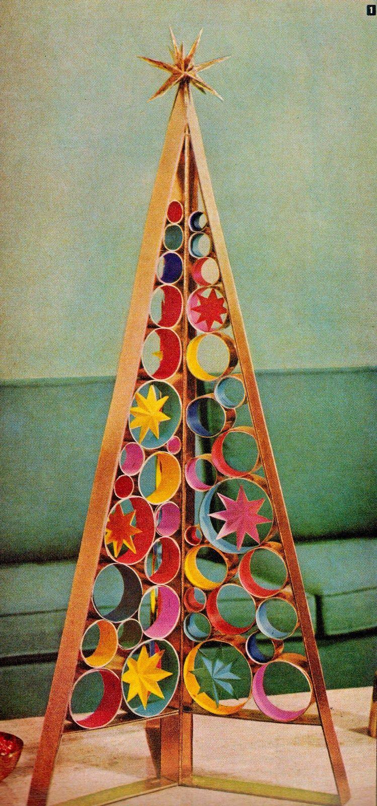 DIY mid century retro Christmas tree centerpiece. http://www ...