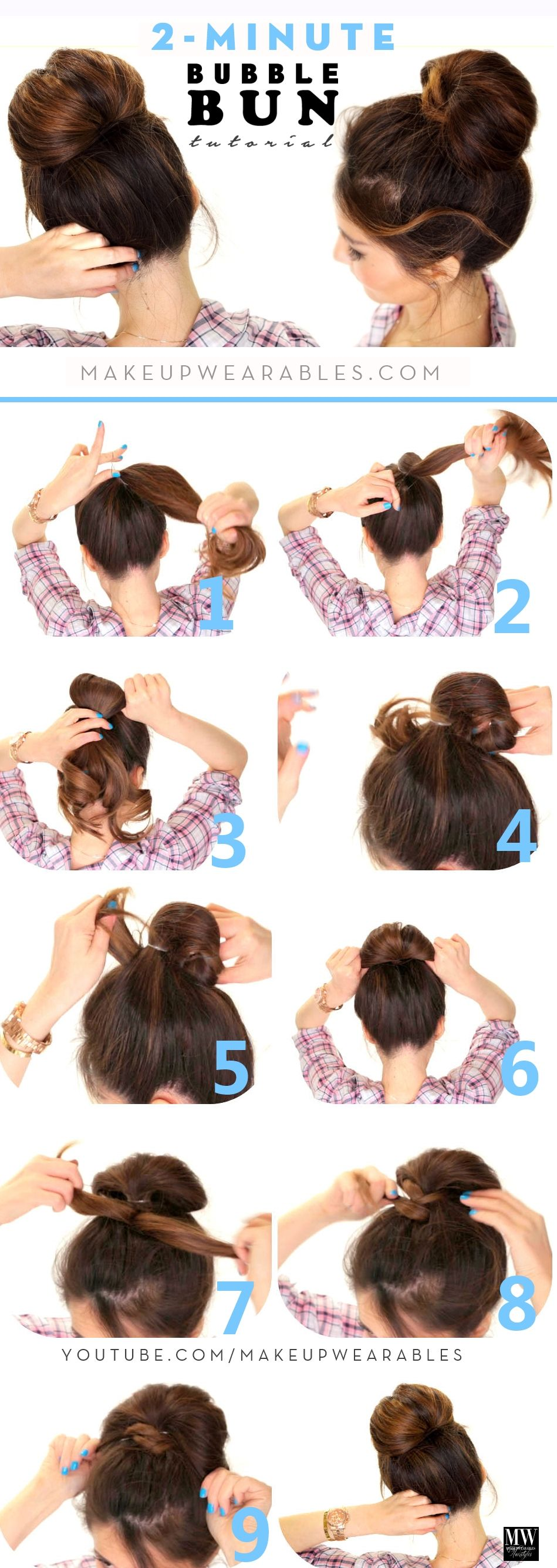 Minute bubble bun cute updo hairstyles for long medium hair