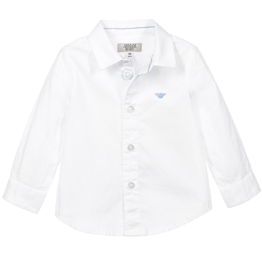 Armani Baby Boys White Cotton Shirt With Logo Baju Anak Anak [ 1000 x 1000 Pixel ]