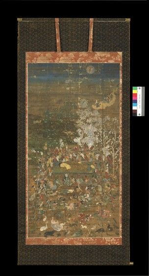 Painting, hanging scroll. The death of the historical Buddha (Sakyamuni). Ink and colours on silk.
