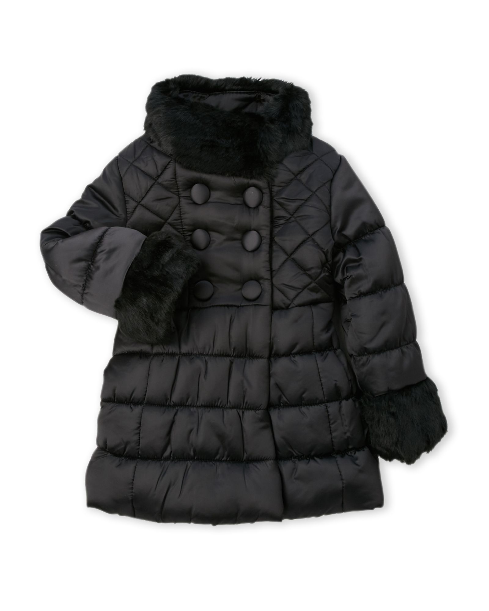 097a0e10aa1e Toddler Girls) Faux Fur Trim Quilted Coat