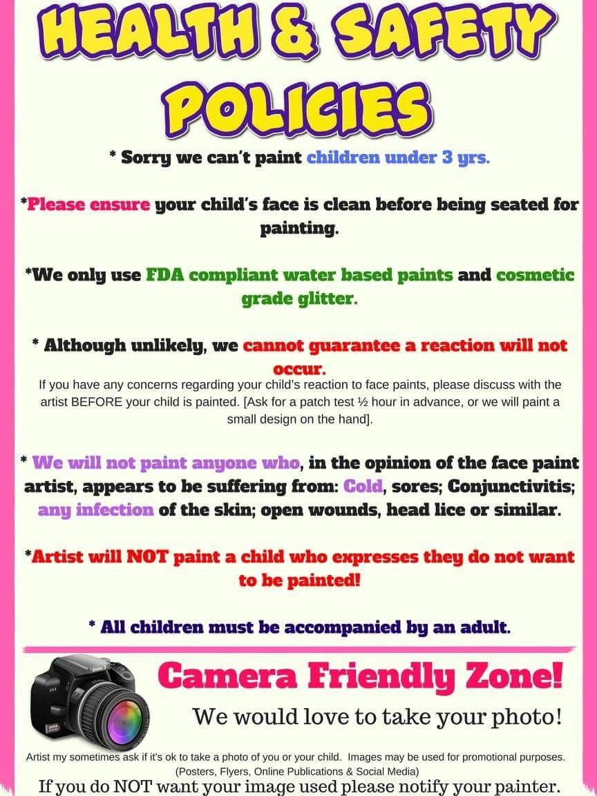 Health and safety policies Face painting, Face painting