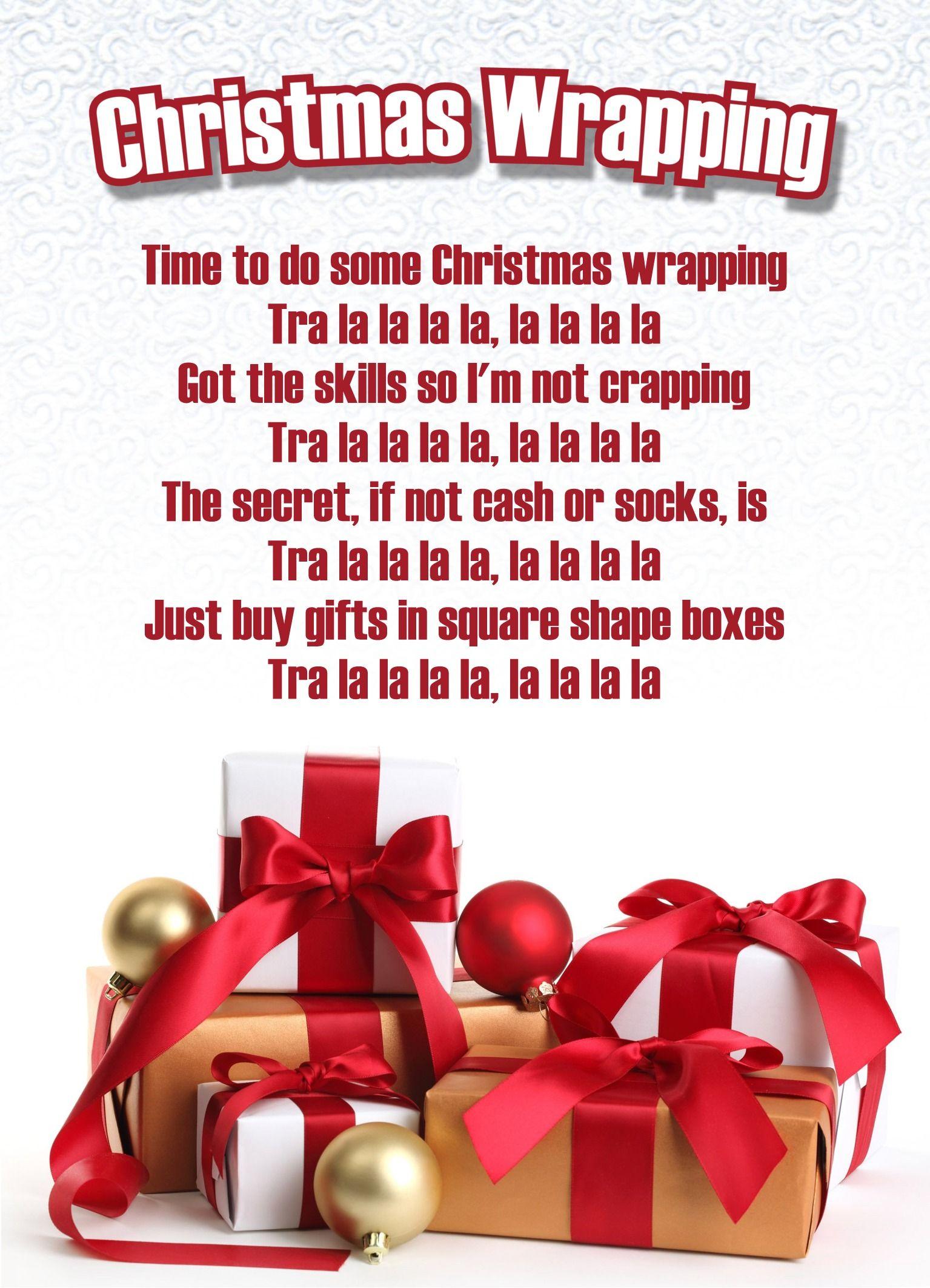 Christmas Wrapping (alternate lyrics to Deck the Halls)   Christmas wrapping, Christmas song ...