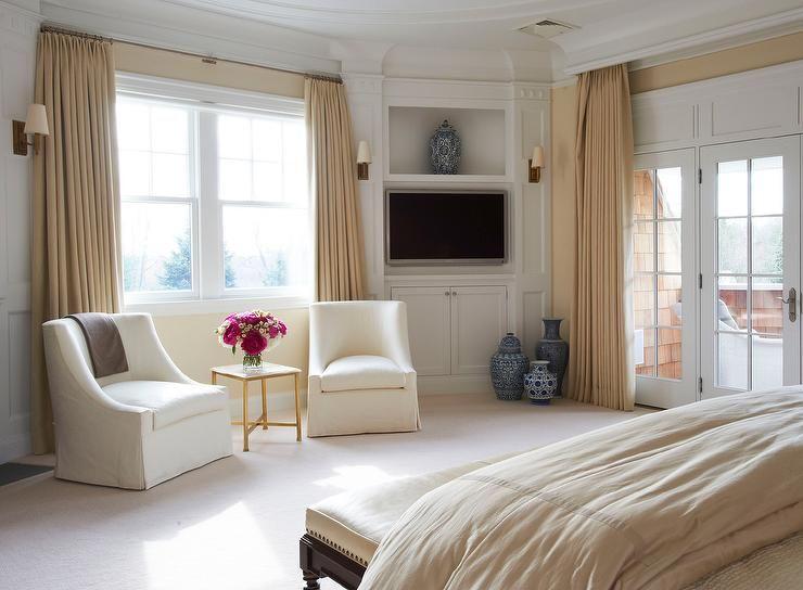 Master Bedroom With Corner Tv Built Ins Transitional Bedroom Small Master Bedroom Bedroom Built Ins Bedroom Corner