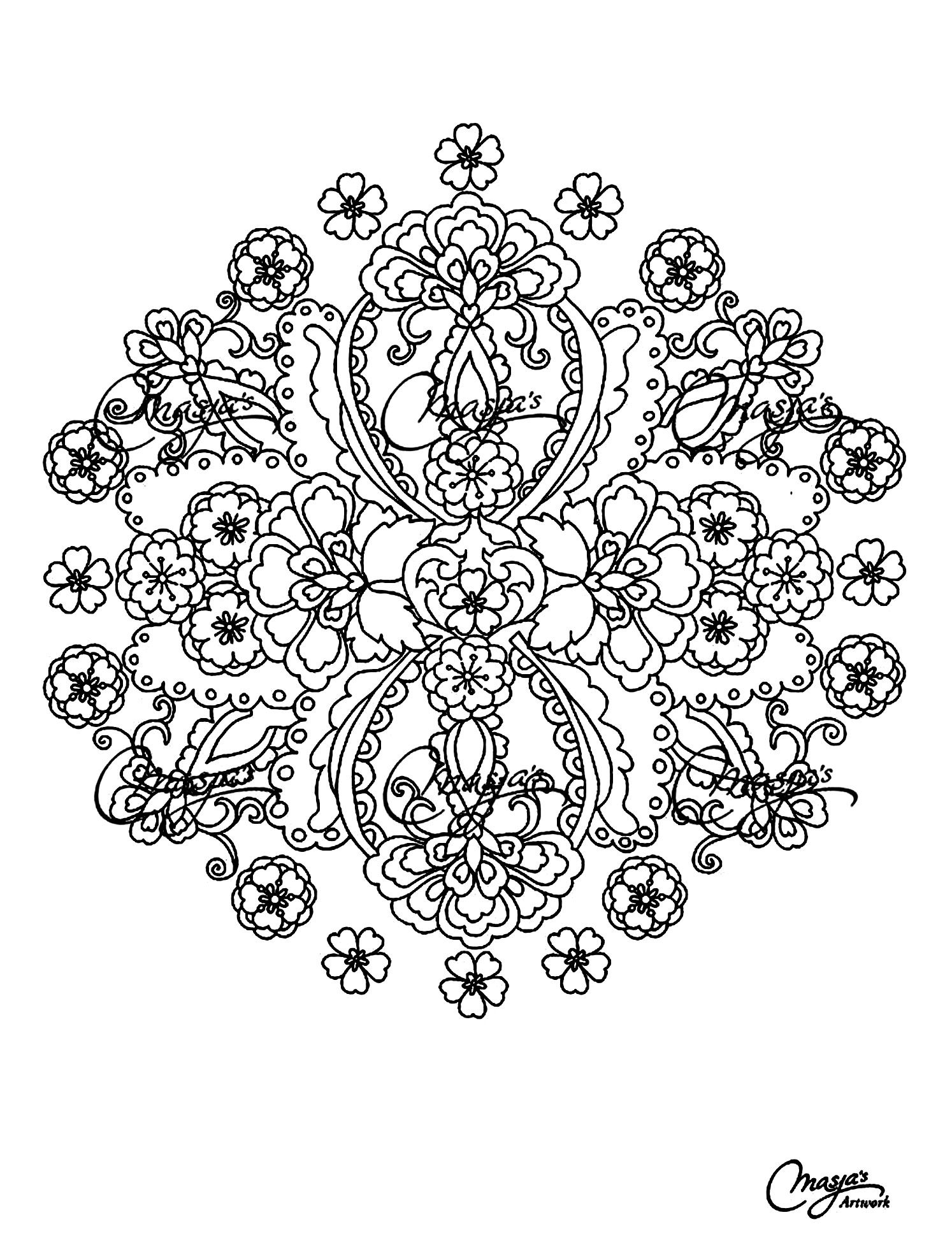Free Coloring Page Adult Flowers Mandala
