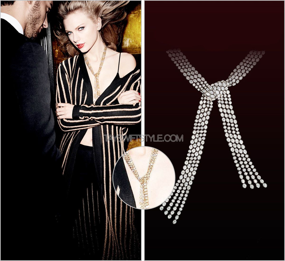 50cfe2a0 Vanity Fair | September 2015 Leviev 'White Diamond Scarf Necklace' - no  price listed Worn with: Balmain coat Check out everything from Taylor's  spread with ...