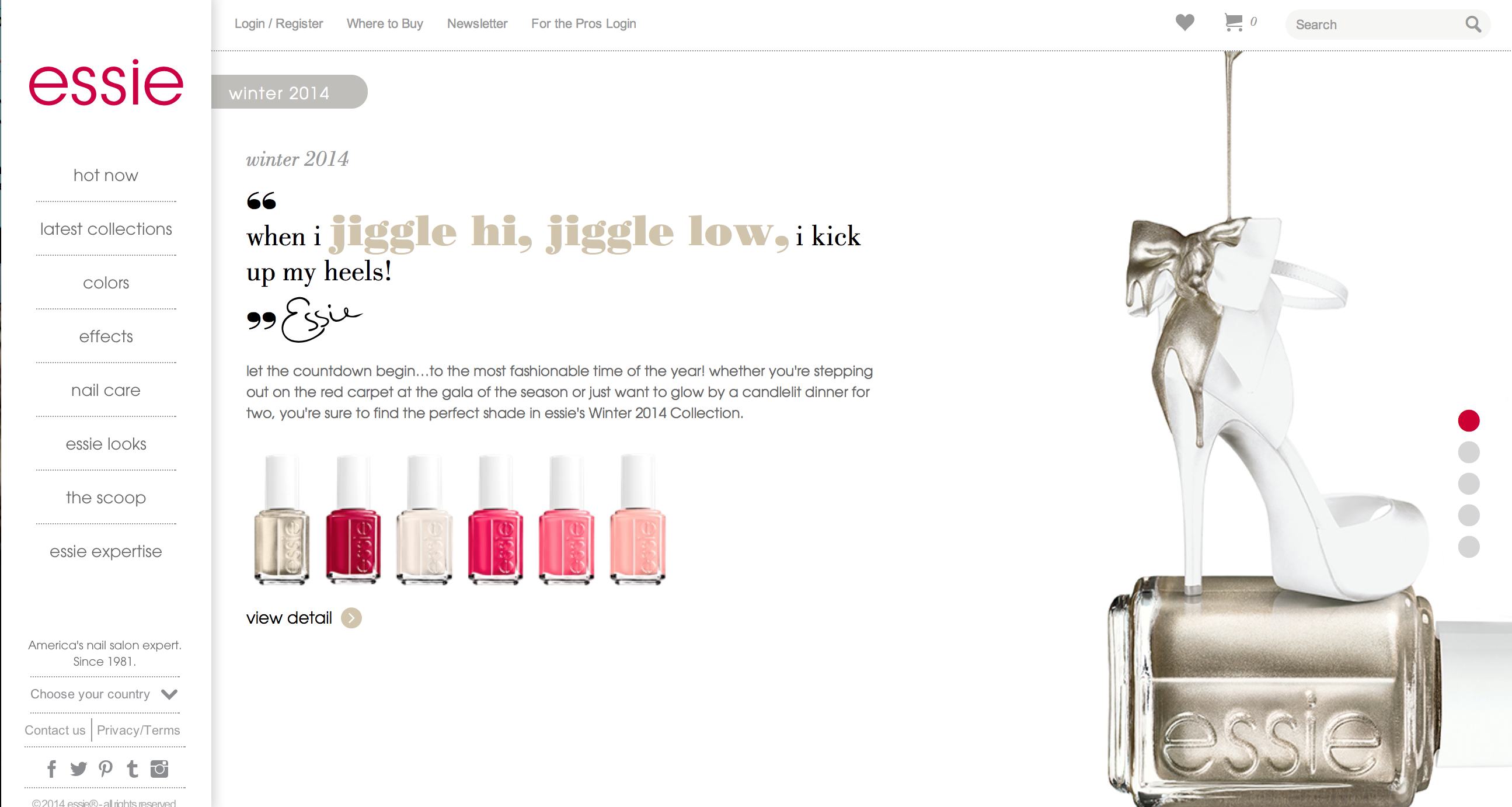 The nail polish brand Essie had a very unique website. I found their layout to be refreshing compared to the average website. The site had a picture and some sort of text next to it. Every 15 seconds or so the main content area would change to a different placement of a different picture and text (what the circles on the right are for). This inspired me because I really liked this format, along with their choice to put their navigation and header to the left. This pin is from: www.essie.com