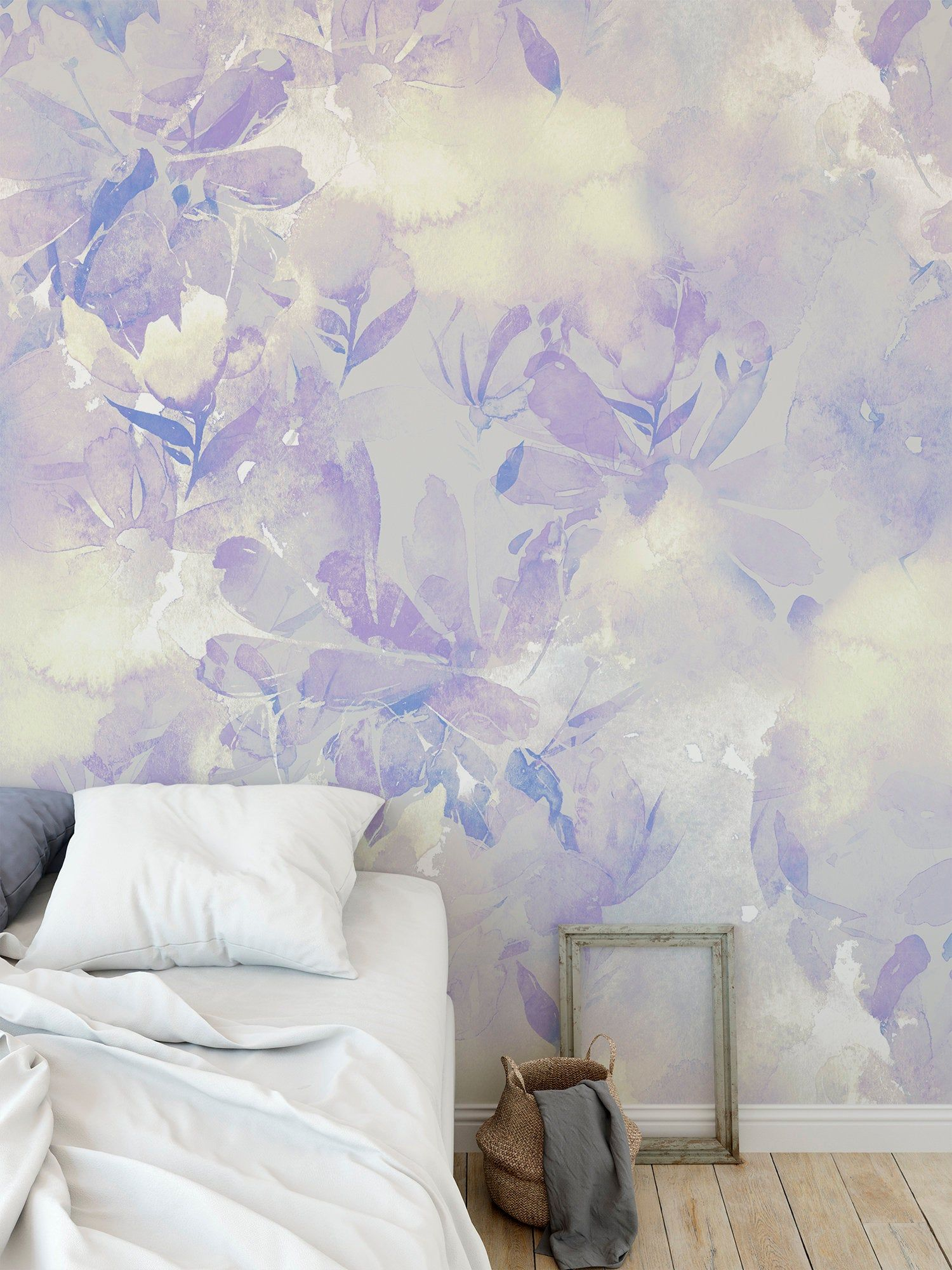 Removable peel and stick wallpaper watercolor purple