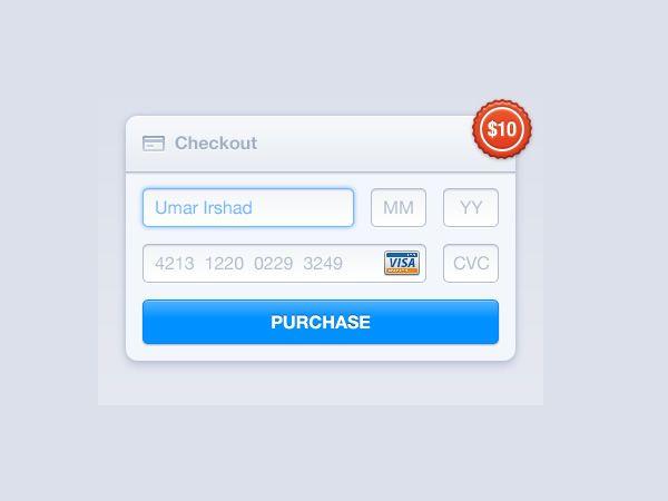 结账界面PSD源文件 蓝调设计 Free PSD Pinterest Design inspiration - credit card form