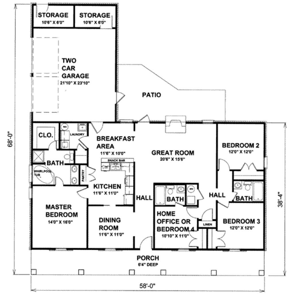 Country Style House Plan 4 Beds 3 Baths 1856 Sq Ft Plan 44 115 Country Style House Plans Home Design Floor Plans House Plans And More