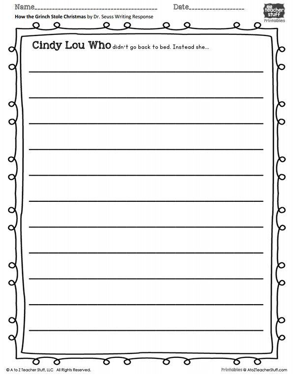 How The Grinch Stole Christmas Writing Prompt Printable What If