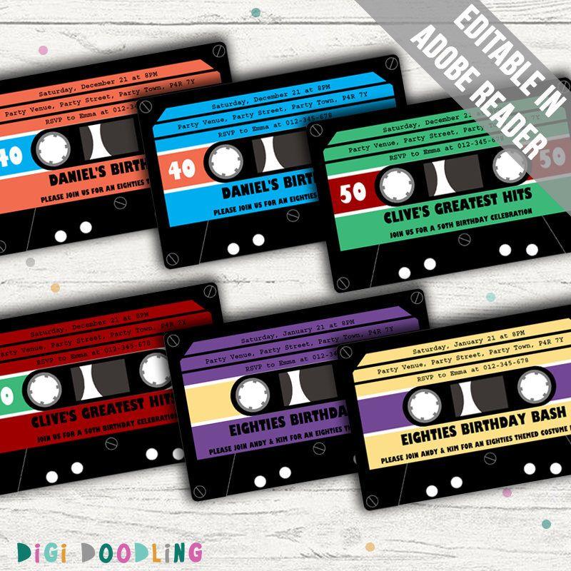 Retro Party Invitation. Cassette Tape Invitation Ideal For 80s Or ...