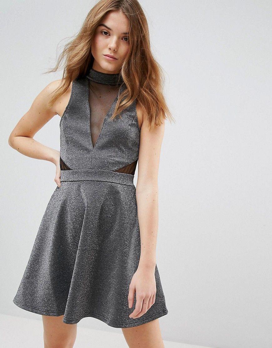 2018 New Online For Cheap Mesh Insert Metallic Skater Dress - Silver New Look Really kICXrG9O