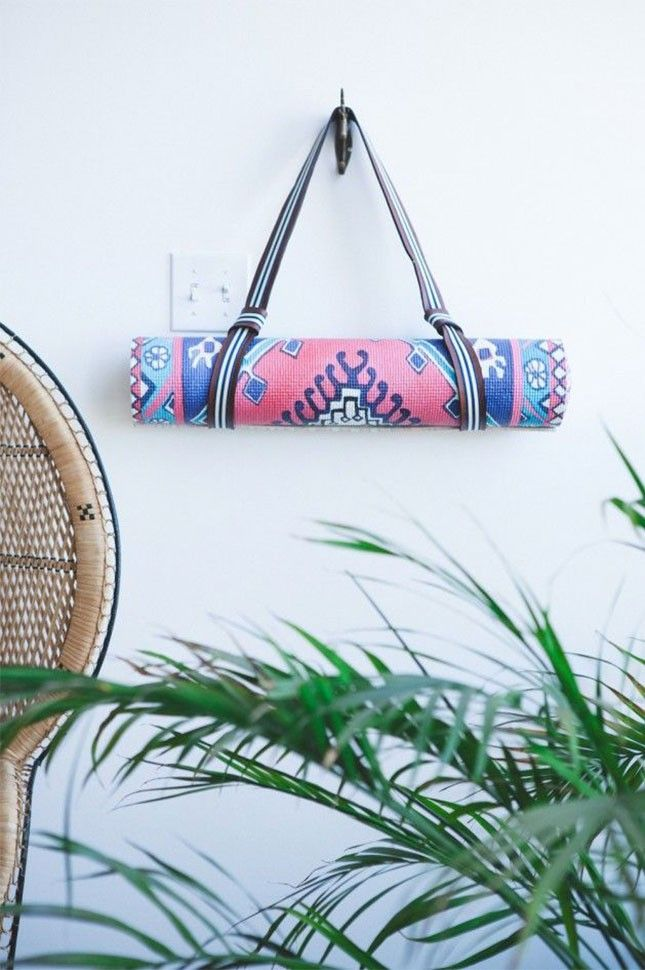 DIY this yoga mat strap so you're able to hang up your mat after your morning session.