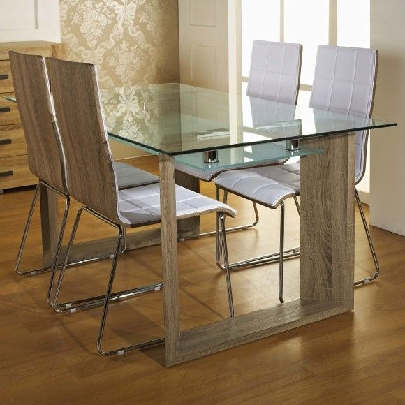 10mm tempered glass table top with 8mm frosted glass shelf and oak veneer legs