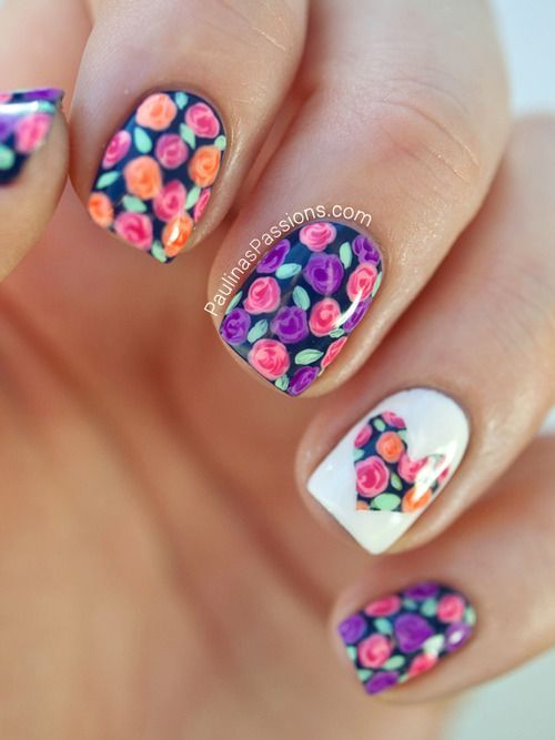 Vintage flower nails with a heart.