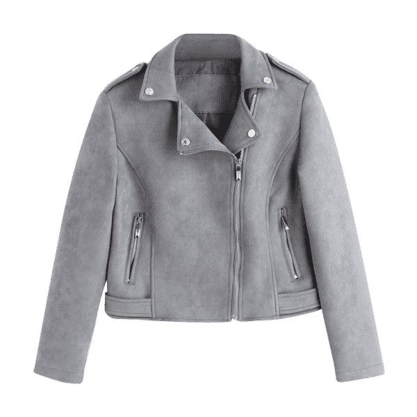 Asymmetric Zippered Faux Suede Jacket (59 CAD) ❤ liked on Polyvore  featuring outerwear,