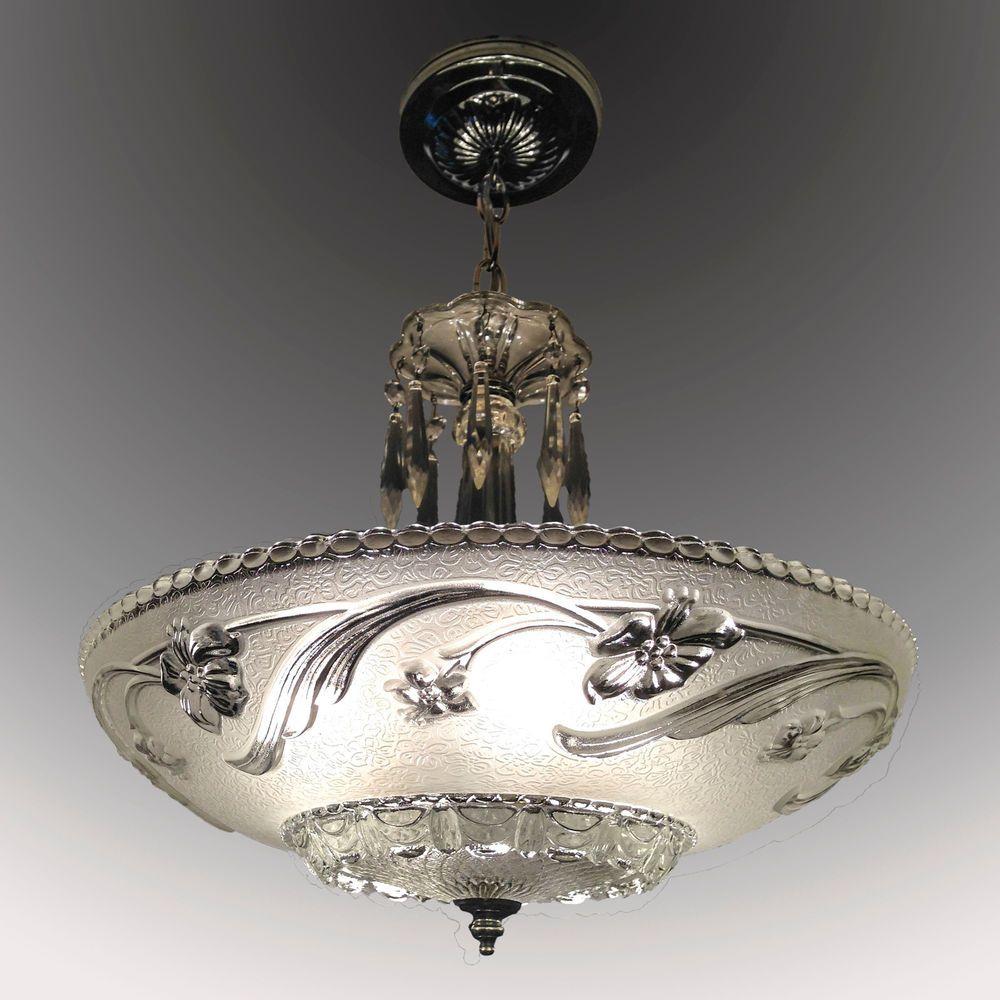 Frosted glass shade vintage 1930s art deco chandelier ceiling light vintage art deco golden beige chandelier by markwoodgrapes arubaitofo Gallery