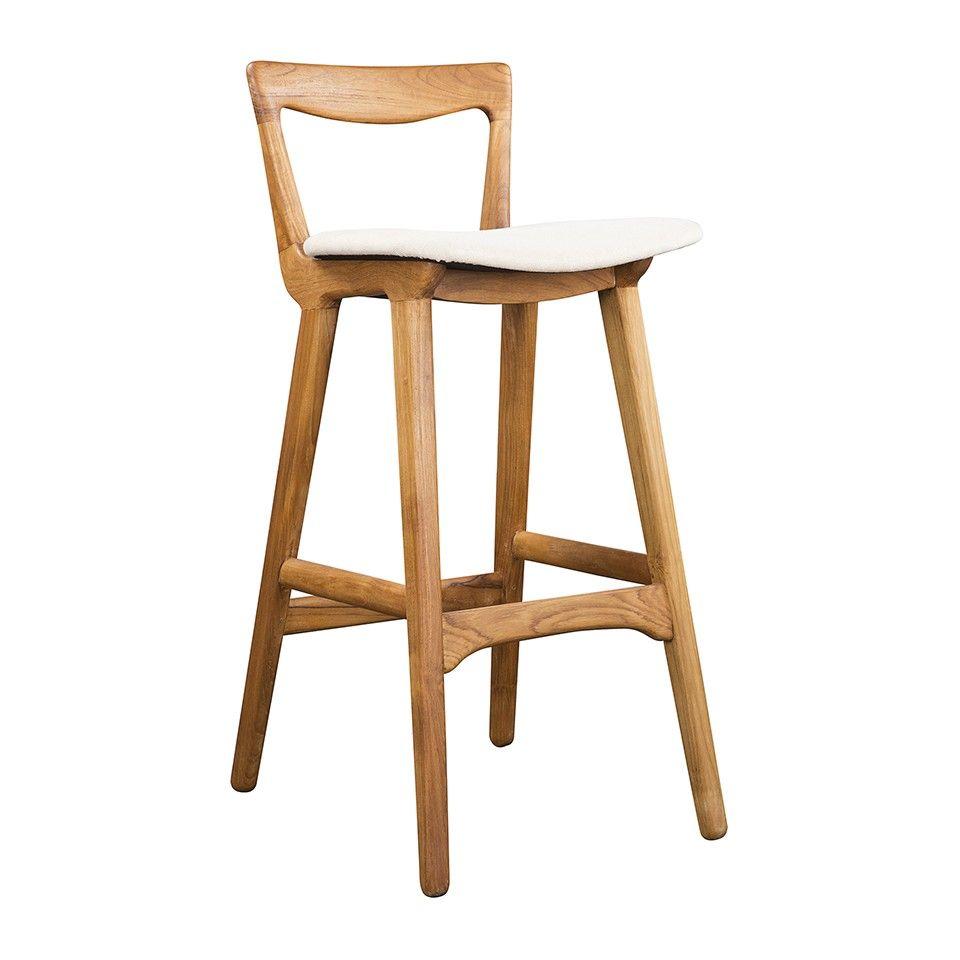 SCANDINAVIA BAR STOOL TEAK/NATURAL LINEN   Bar U0026 Counter Stools   Dining  Chairs