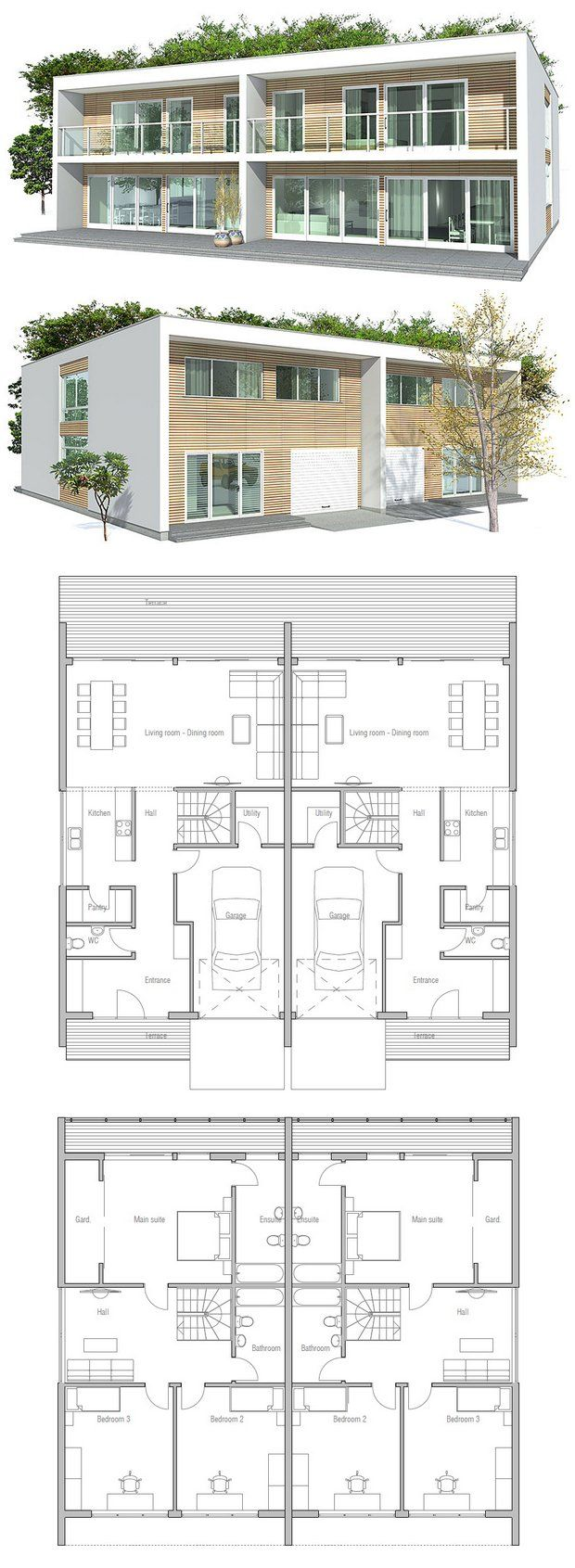 Duplex house on pinterest duplex house plans duplex for Back to back duplex house plans
