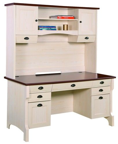 Quality Home Office Desks: SHABBY CHIC NEW QUALITY MAHOGANY & OFF WHITE OFFICE