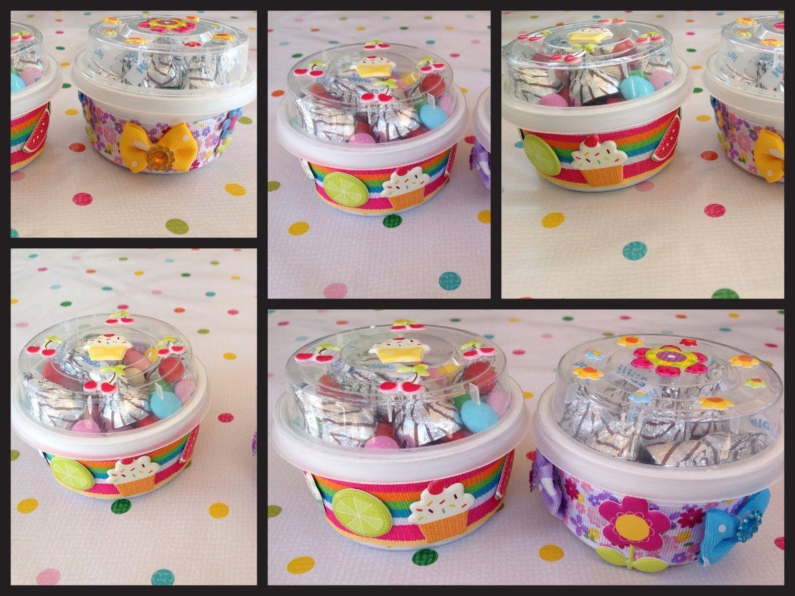 Bonitos dulceros hechos con envases reciclados de yogurt - Manualidades con envases ...