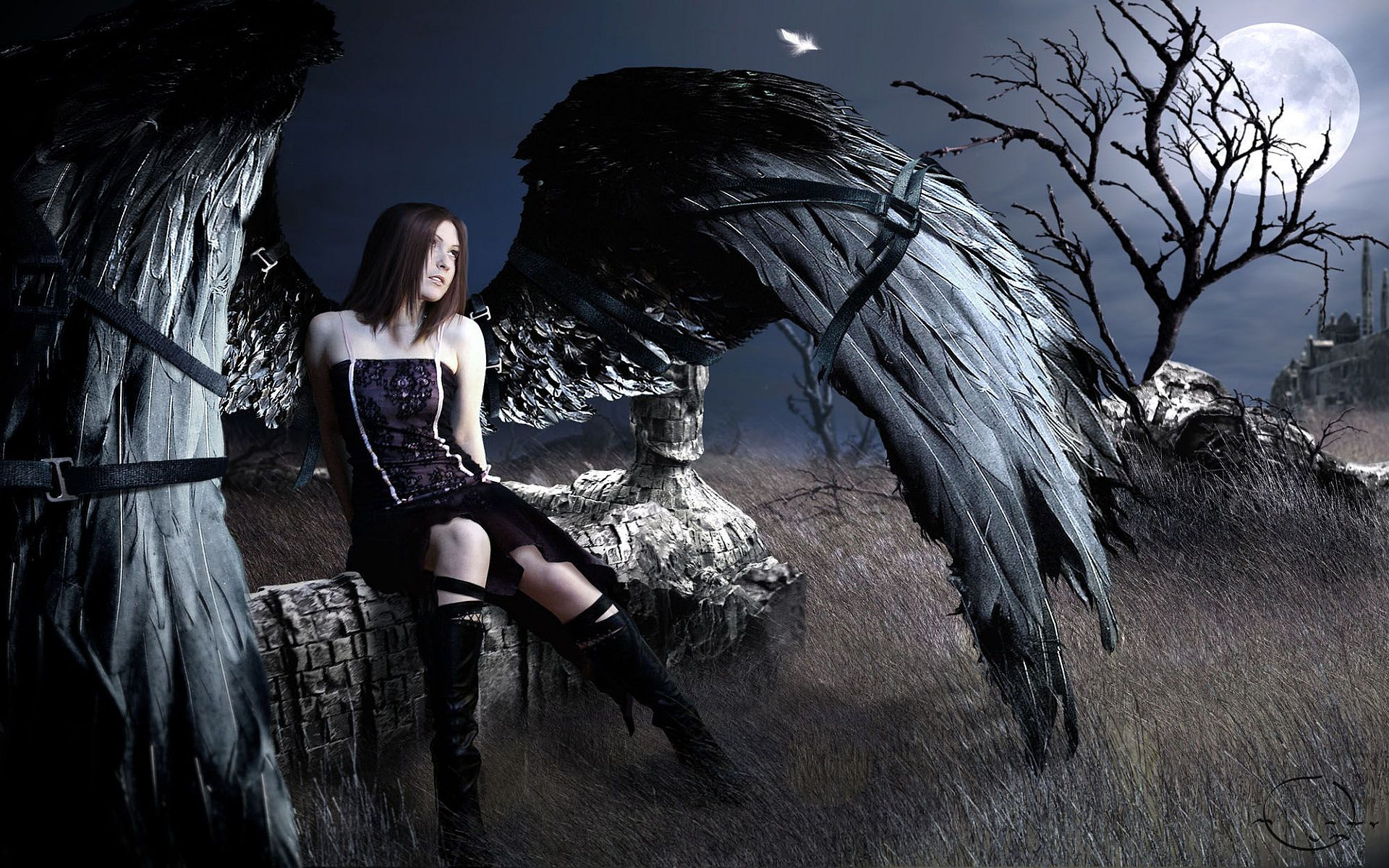 beautiful dark gothic angel wings wallpaper for mobile