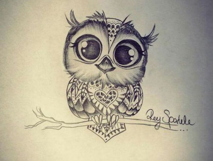 eine idee für einen kleine schwarzen tattoo owl mit einer kleinen süßen